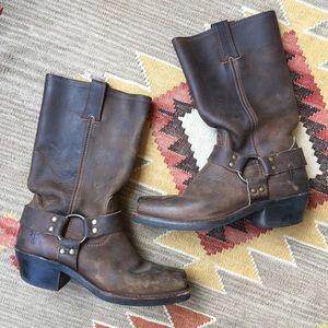 Frye Dark Brown Harness Engineer Western Boots 7.5